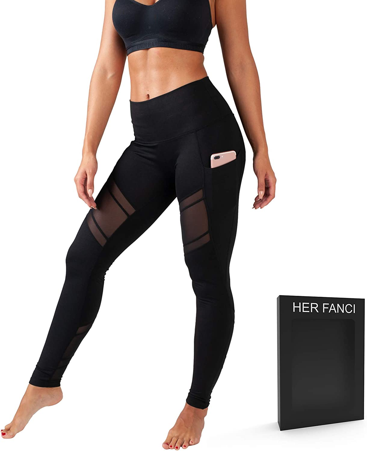HerFanci Yoga Pants for Women with Pockets Black High Waisted Athletic Workout Leggings