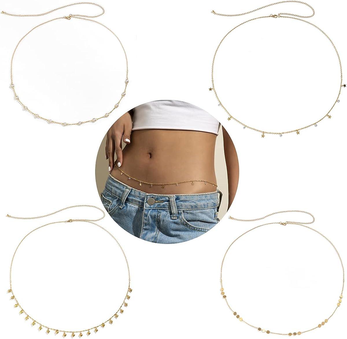 4Pcs Sexy Summer Belly Chain Dainty Beads Sequins Waist Chain for Women Girls Charm Beach Bikini Body Chain Jewelry Set
