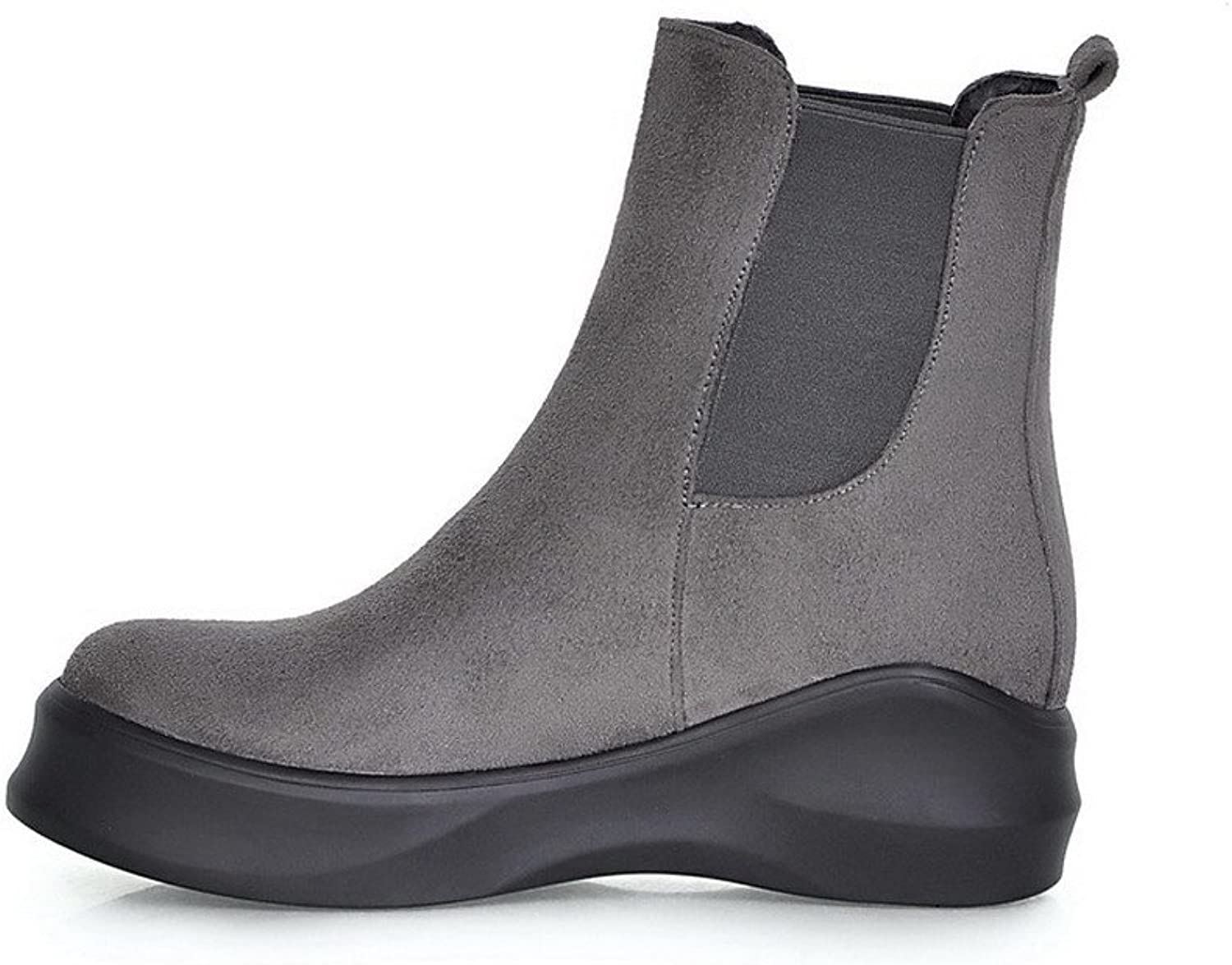 Weenfashion Women's Frosted Closed-toe Low-heels Solid Boots