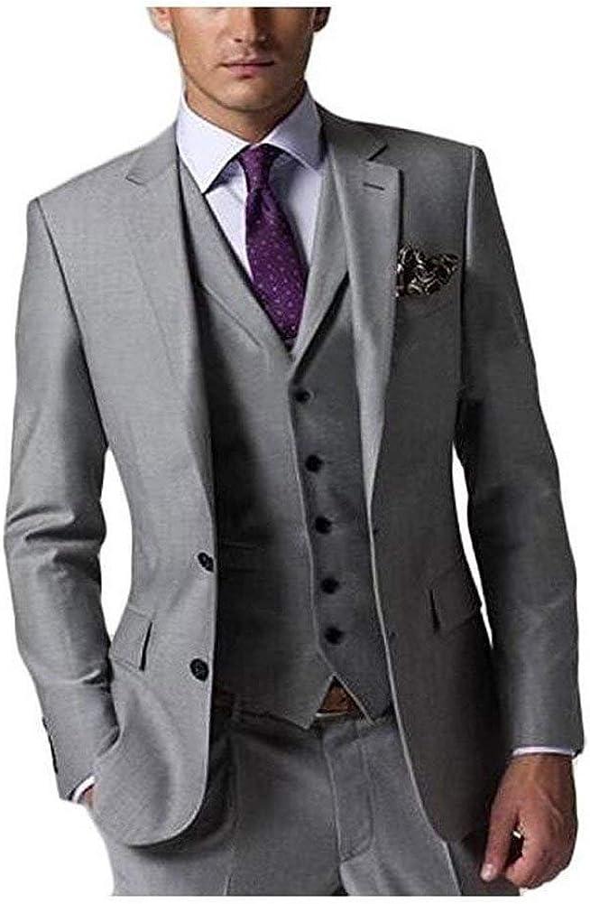 SHENLINQIJ Men's 3 Pieces Grey Wedding Suits for Business Men Suits Groom Tuxedos