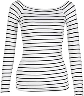 Woman Women Slim Round Neck Long Sleeve Striped Bottoming Shirt Blouse Tops