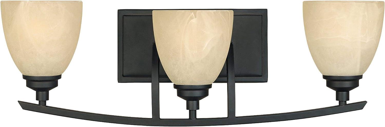 Designers Fountain 82903-BNB Tackwood 3-Light Bath Bar, Burnished Bronze
