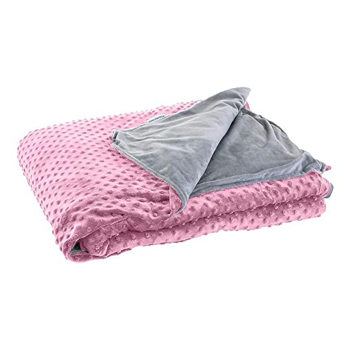 DensityComfort Premium Kid's Weighted Blanket   5 lbs Twin Size 36x48   100% Certified Oeko-TEX Cotton   Includes Pink Gray Cover   Grey Heavy Throw Blanket with Glass Beads