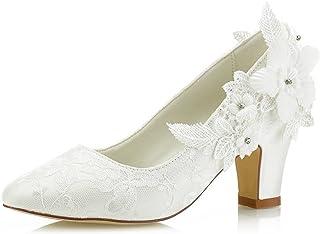 Mrs Right 62311 aux Femmes Chaussures de mariée Bout fermé Talon épais Dentelle satinée des Pompes Chaussures de Mariage