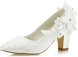 Mrs Right 62311 Women's Bridal Shoes Closed Toe Chunky Heel Lace Satin Pumps Satin Flower Wedding Shoes