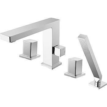 Robinet Mitigeur Design Pour Montage Sur Bord De Baignoire 4 Trous 6081c Amazon Fr Bricolage