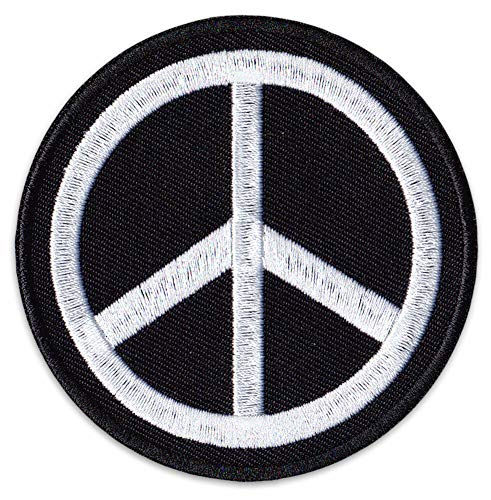 Peace Símbolo Parche para planchar Patch Paz Movimiento hippie Chica Festival Fiesta, Peace Schwarz-weiß, Klein