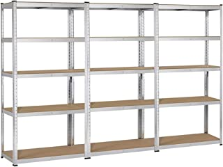 Yaheetech Heavy Duty 5-Shelf Commercial Industrial Office Storage Rack Garage Shelving Unit Adjustable Boltless Steel Display Stand, 71in Height, 3 Packs