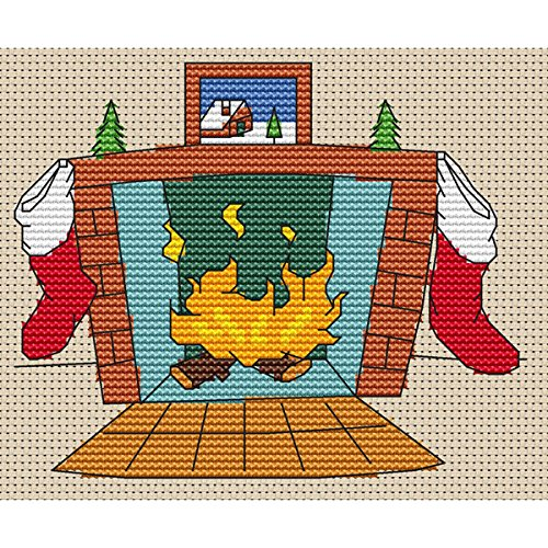 Kerst Open haard 2 Cross Stitch Kit door Elite Designs