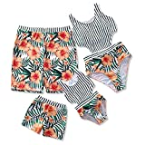 IFFEI Family Matching Swimwear One Piece Floral Printed Bathing Suit Tank Top Striped Beachwear Women: XL