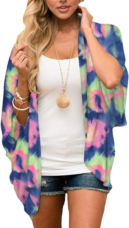BB&KK Women's Summer Chiffon Kimono Cardigans Beach Sheer Open Front Cover Ups Tops