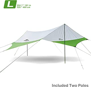 Topnaca Lightweight Camping Tarp Shelter Beach Tent Sun Shade Awning Canopy with Tarp Poles, Portable Waterproof Sun-Proof 204.7x181 in/157.5x137.8 in for Hiking Fishing Picnic