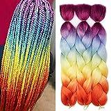 AIDUSA Ombre Colors Braiding Hair Ombre 3pcs Synthetic Braid Hair Extensions 24 Inch Three Tone Ombre Orange Yellow Blue Purple Braids for Box Braids Twist Crochet Braids 100g (#60 Rainbow Color)