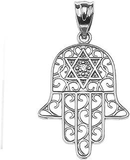 Jewish Jewelry by FDJ Diamond Hamsa Hand Sterling Silver Pendant