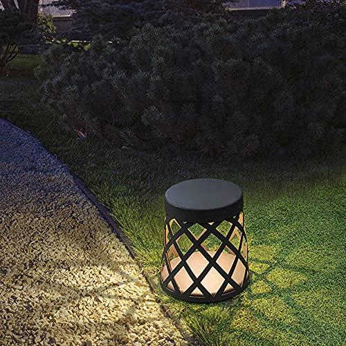 Lámpara de cabeza de columna de tejido externo IP54 Luz de pilar hueco para exteriores Pantalla de metal Linterna de poste a prueba de lluvia LED Lámpara de piso impermeable Césped Jardín Iluminación