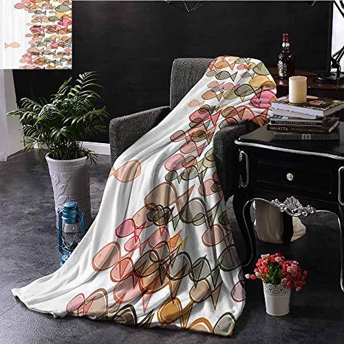 GGACEN bont gooien deken Vis Flock Een Facing Anderen Seashore Print Zachte Pastel Kleuren Zachte en comfortabele slaapbank
