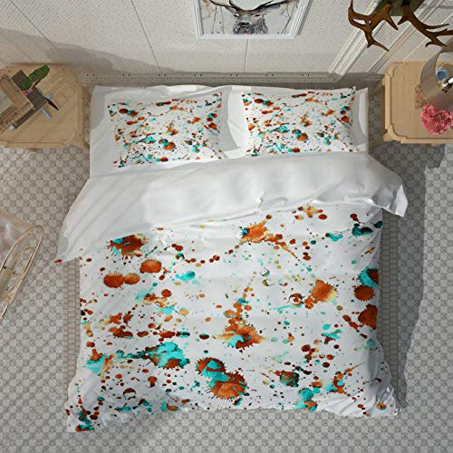 PANDAWDD Single Quilt Duvet Cover & Pillowcase Bed Set Adults Teenagers, Easy Care Anti-Allergic Soft & Smooth Plain Brushed Microfiber Bedding,Color Splash Ink Printing - 135X200cm