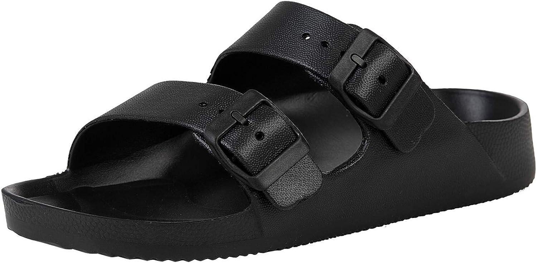 Unisex Slides Sandals, Men's Women's Adjustable Double Buckle Lightweight EVA Slip on Comfort Footbed