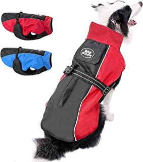 Beirui Reflective Waterproof Dog Winter Jackets for Large Dogs - Windproof Fleece Lined Warm Dog Coats with Harness & Leash Holes,Blue,Red,3XL,4XL,5XL