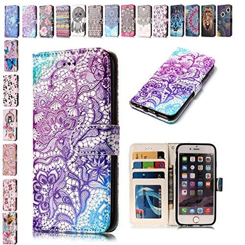 E-Mandala Funda Apple iPhone 5 5S SE Piel Carcasa con Tapa Libro PU Cuero Leather Silicona Bumper Case Completa Protectora Folio Tarjetero - Púrpura Henna de Encaje