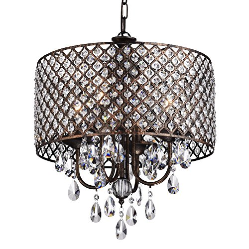 Marya 4-Light Antique Copper Round Drum Shade Crystal Chandelier Ceiling Fixture