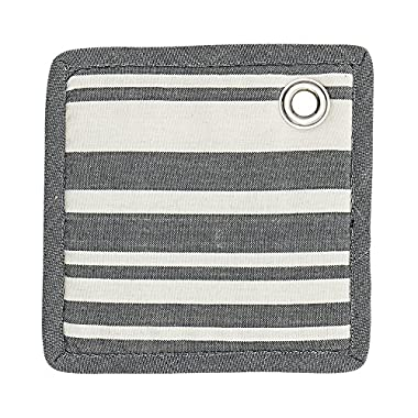 Bloomingville Square Cotton Potholder, Grey and White Striped