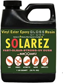 SOLAREZ UV Cure Nano-Quartz Gloss Resin (Pint) UV Solar Cure, Non-Tacky, Scratch & Heat Resistant ~ Surfboard, Craft, Hobby, Marine, Spa, RC, Woodwork, Tabletops, Coating, USA Made