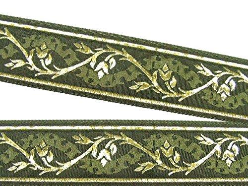 10m Mittelalter Borte Webband 35mm breit Farbe: Moosgrün-Gold von 1A-Kurzwaren 35094-moos