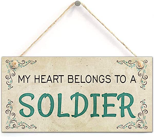 NWXO Wood Sign 5x10 Inches My Heart Belongs To A Soldier Army Wife Girlfriend Home Accessory Gift Sign 5 X 10