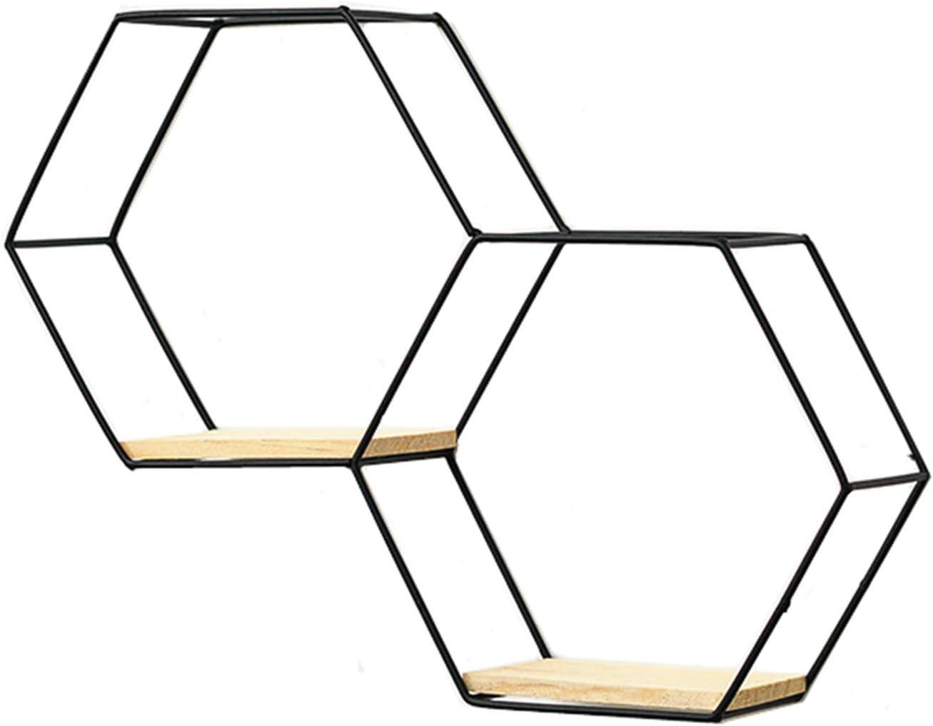 salon /Étag/ère murale Hexagon 1 pi/èce 1 pi/èce Pour chambre /à coucher RAILONCH /Étag/ère murale en m/étal /Étag/ère flottante Noir//dor/é