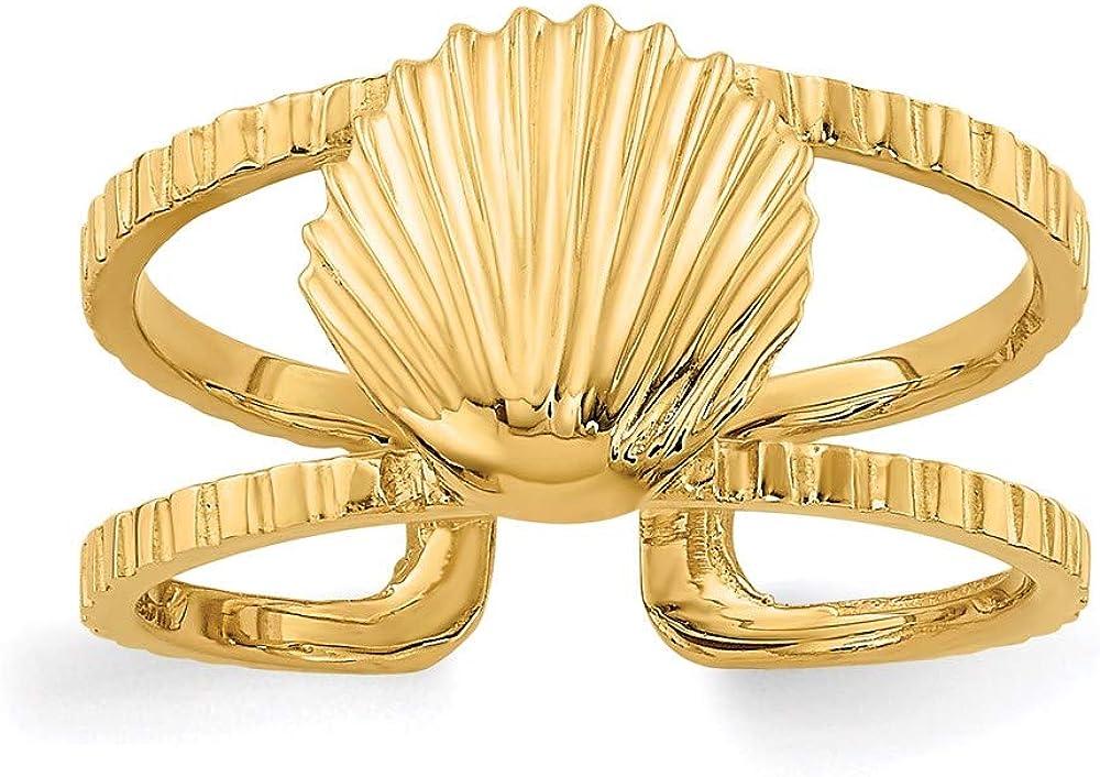 14k Yellow Gold Sea Shell Toe Ring