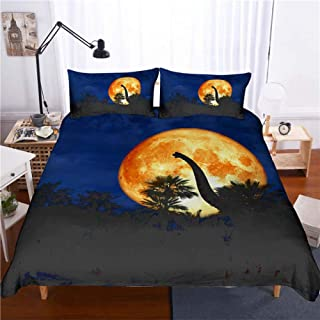 3D Bedding Sets,3D Late Night Jungle Dinosaur Under The Moonlight Print Pattern Bedding Polyester Fiber Soft Warm Quilt Cover And Pillowcase Kids Bedclothes Quilt Personality Decor For Children'S Ro