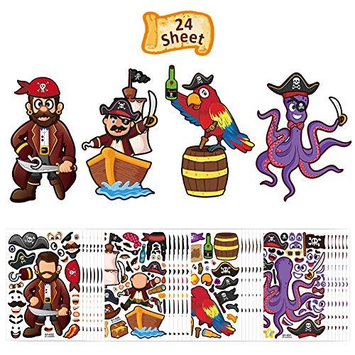 ZERHOK 24stk Piraten Party Aufkleber Kinder Bastelprojekten DIY kleine Pirat Augenklappe Bandana Schnurrbärte Piratenparty Mitgebsel Piratenfans Stickers Piratengeburtstag