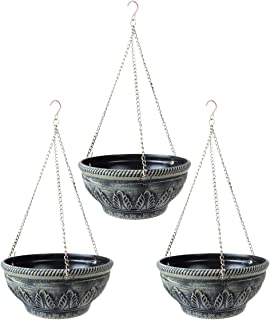 PENCK Hanging Planters Plastic Flower Plant Pots Basket with Chain Home Garden Balcony Decoration for Wall Outdoor Indoor ...
