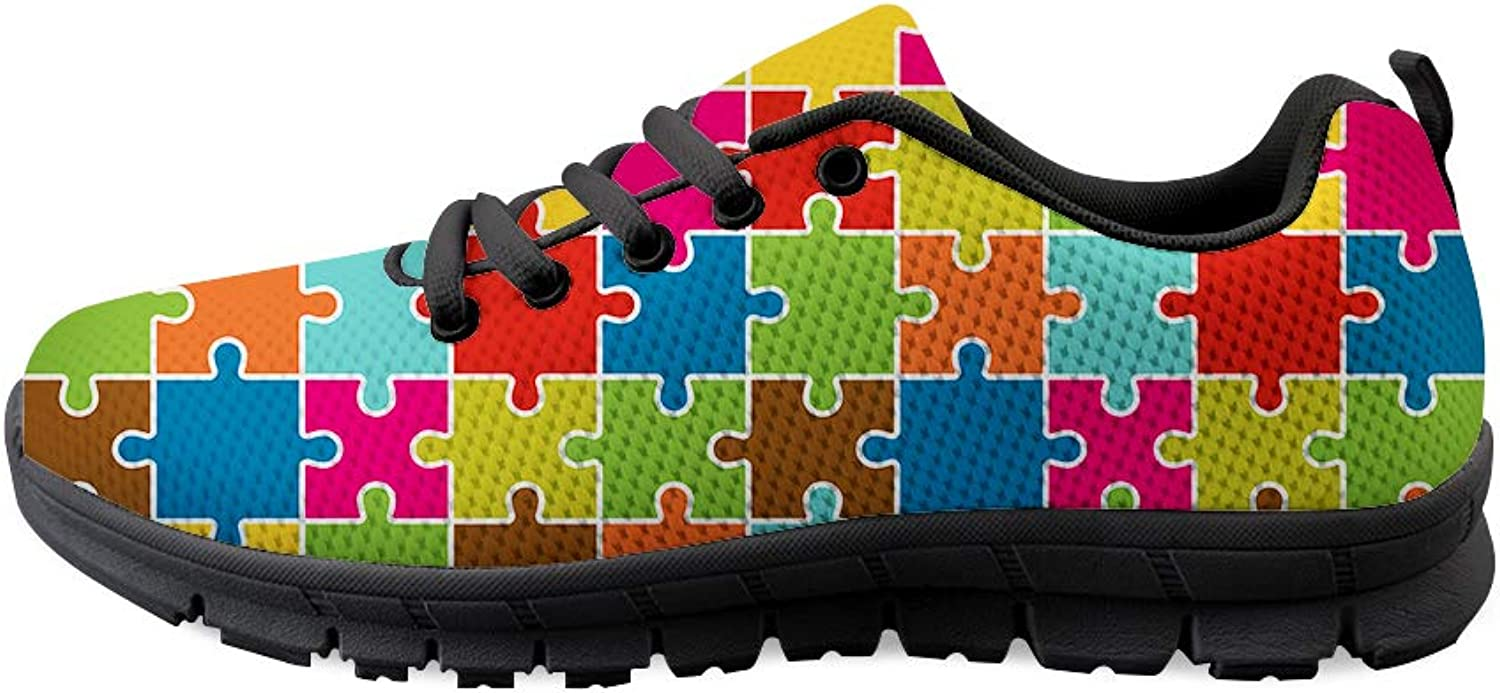 Lace-up Sneaker Training shoes Mens Womens Autism Awareness Happy Square Puzzle