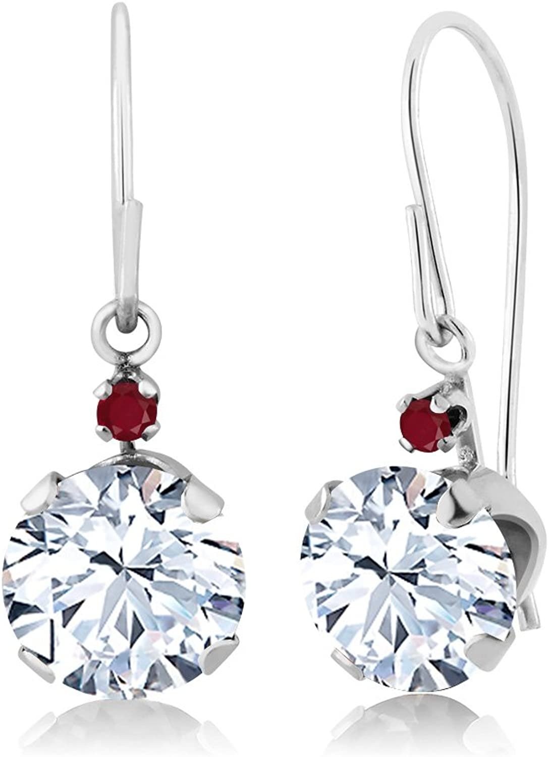 1.72 Ct Round White Zirconia Red Ruby 14K White gold Earrings