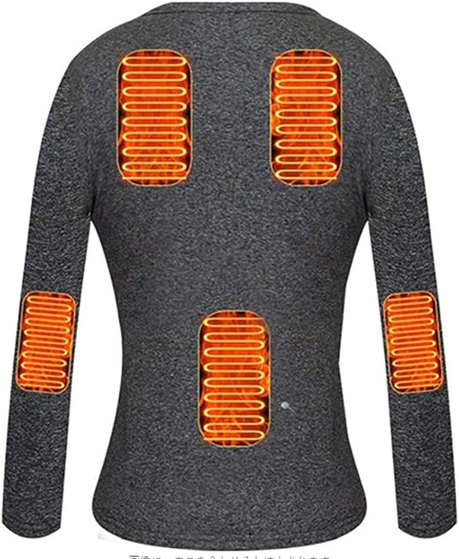 BININBOX Man Heated Underwear Thermal Heating T Shirts Electric Insulated Balck Grey