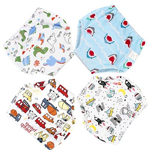 Culotte d'apprentissage Lavables 4 Pièces Bébé Enfant Fille Garçon Couches Culottes Anti-Fuite en Coton Imperméable (1-2 Ans, Style 2)