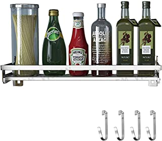 Eastore Life Spice Rack Organizer with 4 Hooks - 304 Stainless Steel Storage Shelf for Kitchen & Bathroom, Wall Mounted Seasoning Shelf, Easy to Assemble, 15.7-Inch