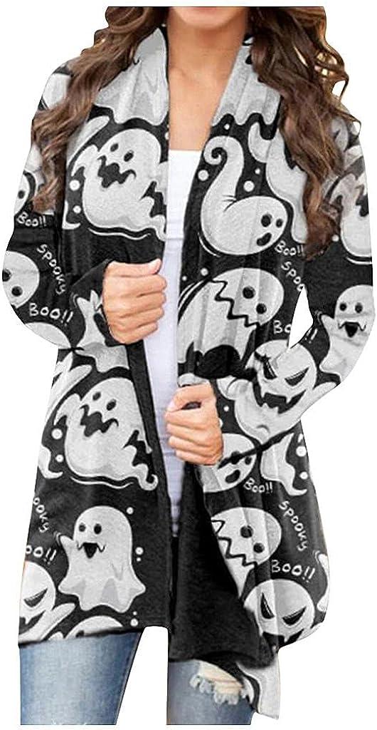Mingleigo Women's Halloween Cardigan Long Sleeve Open Front Funny Cute Pumpkin Black Cat Ghost Lightweight Coat Plus Size