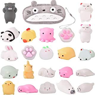 Mochi Squishy Toys-22Pcs Pack Kawaii Animal Squichies Toys Panda Squishys Kawaii Squishys Cat Stress Reliever Toys FREE Kawaii Cat Carrying Bag Fun Birthday Present Party Favor