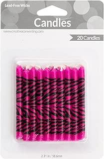 Creative Converting 20 Count Super Stylish Zebra Print Candles, Pink
