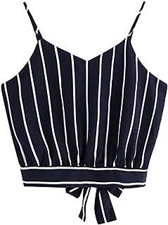 F_topbu Women Tank Crop Tops Teen Girls Stripe Printed Tie Knot Back Sleeveless Blouse Cami Shirt Camisoles