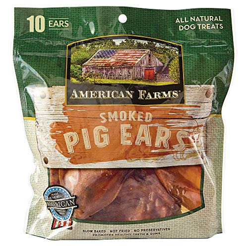 AMERICAN FARMS Smoked Pig Ears for Dogs 10 Count, Brown (00056)