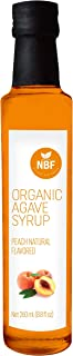 NATURA BIOFOODS 100% certified Organic Natural Flavors Blue Agave Nectar, Agave Syrup Sweetener, Chocolate, Almond, Vanilla, Strawberry, Gluten Free, Vegan, Low-Glycemic Index. (Peach, Small)