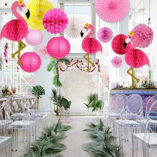Sayala Summer Party Decoration Kit,Flamants Roses Décoration Papier Rouge Jaune+ Papier Pompom +Roses Lanterne pour Décoration de Fête de Plage Hawaïenne