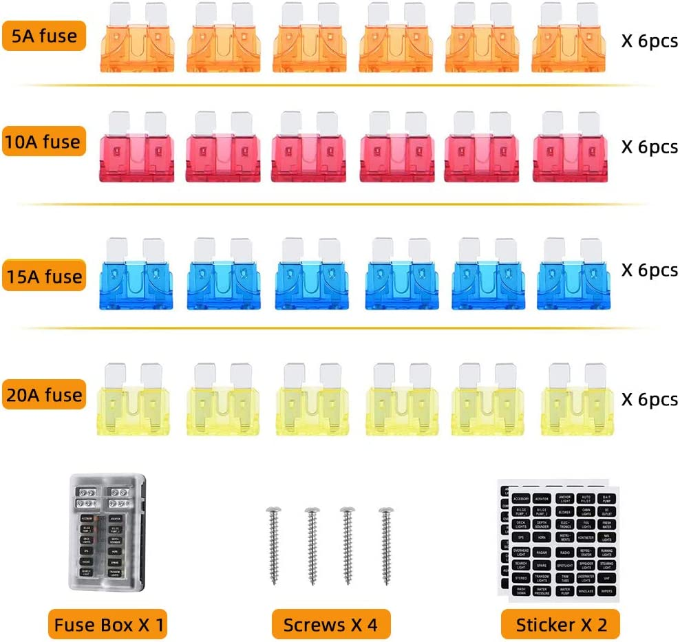 12 Way Fuse Block Blade Fuse Holder with Negative Bus,12 Circuit ATC Fuse Holder,Durable Protection Cover Fuse Box Holder 10a 15a 20a Waterproof Fuses for Automotive Car Marine Boat