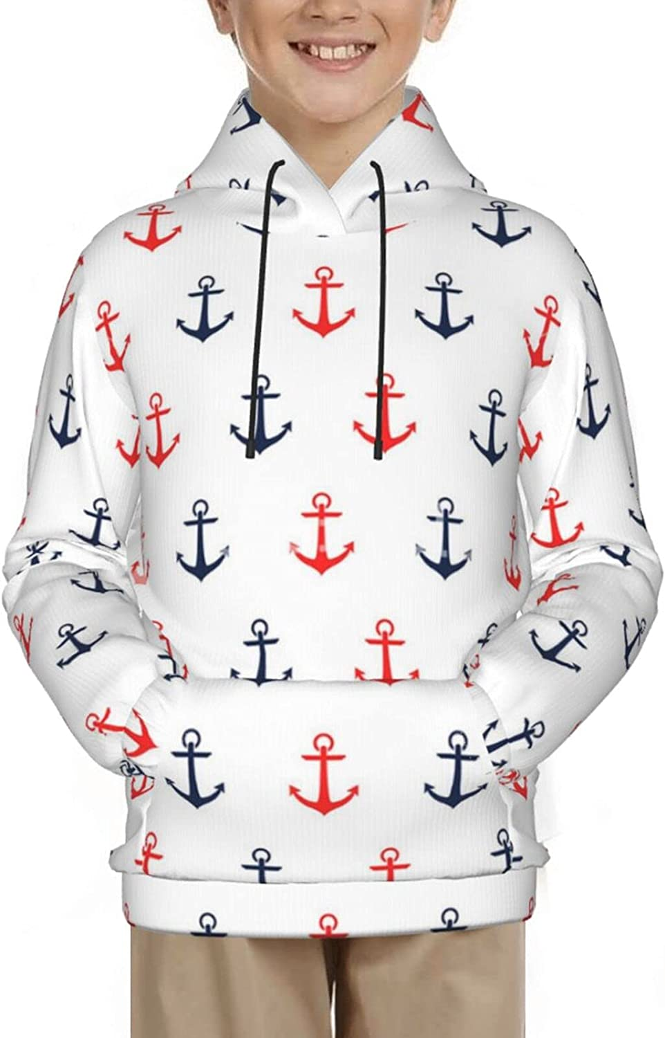 Anchor Pattern Hoodies, Fashion 3D Print Sweatshirts, with Pocket Long Sleeves Pullover, for Boys Girls