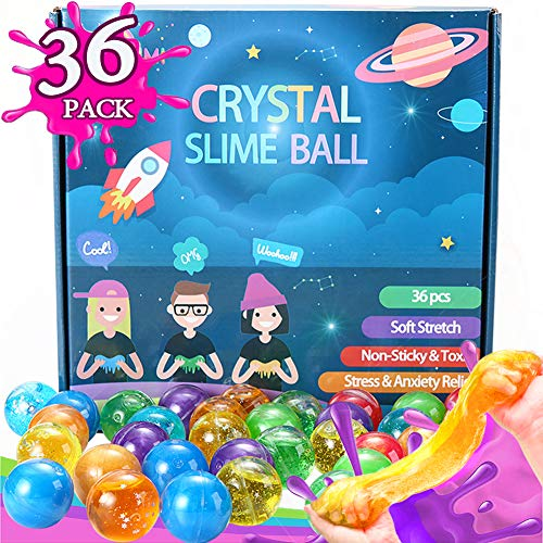 Kenlaimi 36pcs Party Favors Glitter Slime Balls - Non Sticky, Soft StrecthStress & Anxiety Relief - Silly Putty,Slime Party Favors,Classroom Rewards,Slime Partie for Girls Boys Kids Adults