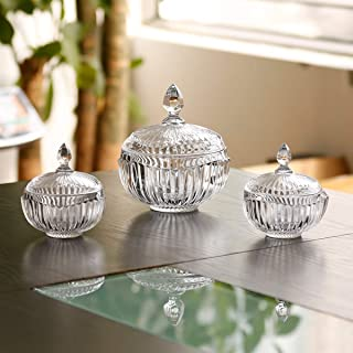 JT Glass 3pcs Sugar Bowl set with cover 1pc big Dia 14.9CM and 2pcs small Canister Dia 11.7CM Crown Design Family Tablewar...
